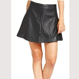 Faux leather cut out A-line skirt